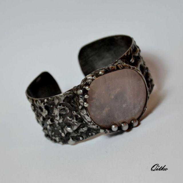 č.2001: Cínované náramky/prsteny s dichroickým sklem či minerály