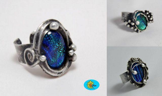 č.2132: Cínované náramky/prsteny s dichroickým sklem či minerály