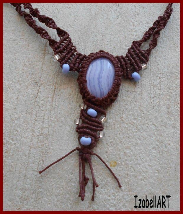 č.2206: Macramé náhrdelník s kamínkem