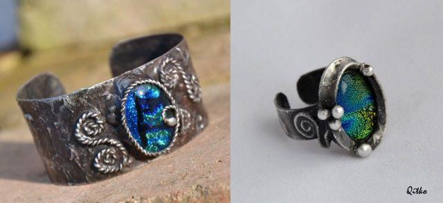 č.2223: Cínované náramky/prsteny/spony do vlasů se sklem či minerály